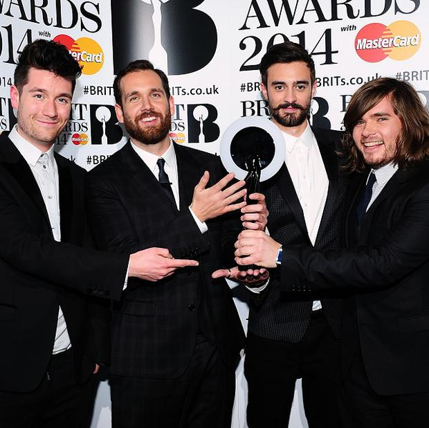 Dan Smith, William Farquarson, Kyle Simmons and Chris Wood from Bastille won the award for British Breakthrough Award at the 2014 Brits