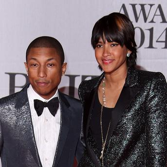 Pharrell Williams attended the Brit Awards with his wife Helen Lasichanh
