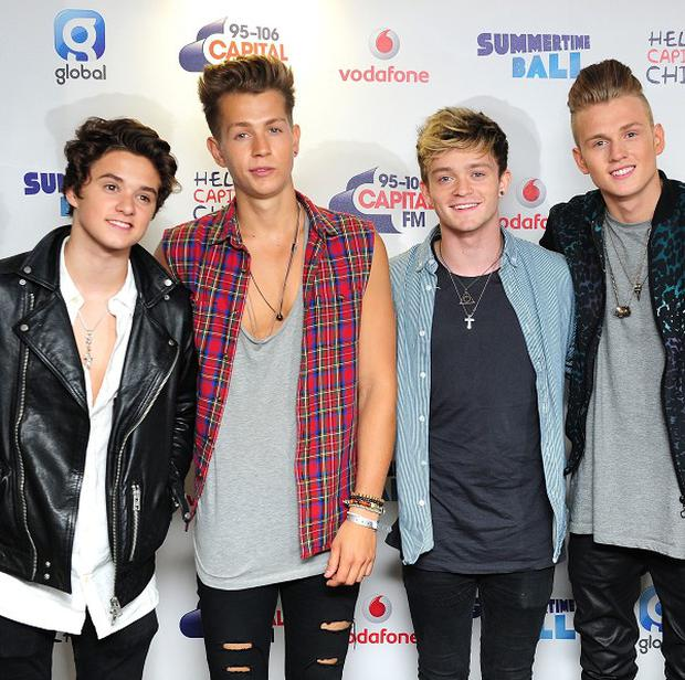 The Vamps were cheered by a mainly female audience as they strapped into Air Race at Drayton Manor Theme Park in Staffordshire