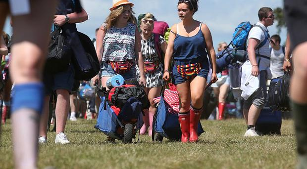 T in the Park festival goers arrive at the campsite