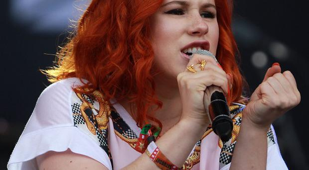 Katy B performing at the T in the Park festival