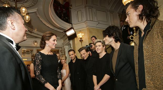 The Duchess of Cambridge meeting boy band One Direction at the Royal Variety Performance