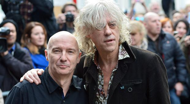 Midge Ure and Bob Geldof arrive for the recording of the Band Aid 30 single at Sarm Studios in Notting Hill, London