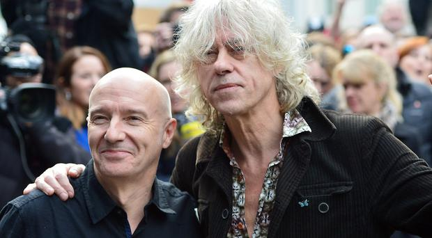 Midge Ure and Bob Geldof at the recording of the Band Aid 30 single