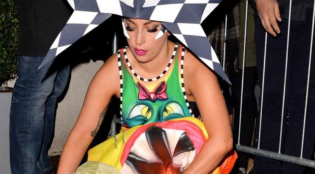 Lady Gaga leaving the Lowry Hotel in Manchester (Palace Lee/Rex)