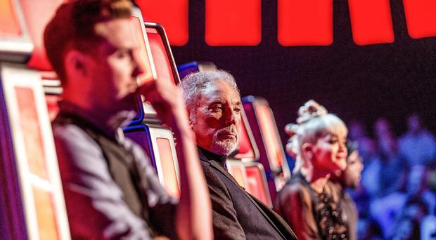 Judges Ricky Wilson, Sir Tom Jones, Rita Ora and Will.i.am during BBC1 talent show The Voice
