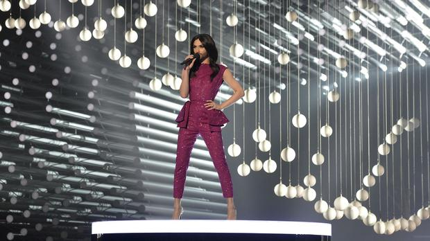 Conchita Wurst, who won the 2014 Eurovision Song Contest for Austria, performs on stage during a dress rehearsal (AP)