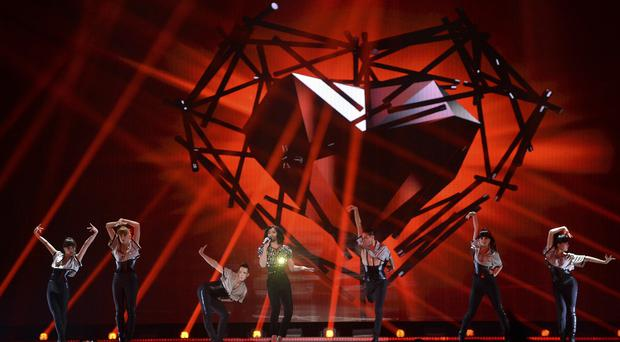 Last year's winner, Conchita Wurst, performs during a dress rehearsal for the final of the Eurovision Song Contest in Austria's capital Vienna (AP Photo/Kerstin Joensson)