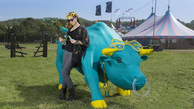 Festival-goers at Glastonbury will be able to recharge their phones and swap their portable charging bars at the Charging Bull