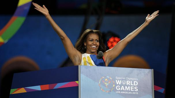 Michelle Obama declares the 2015 Special Olympics World Games officially open in Los Angeles