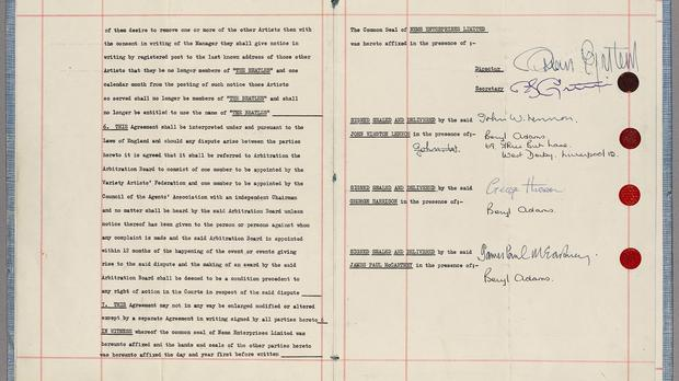 The contract signed by the Beatles which bound them to their legendary manager Brian Epstein is being offered for sale at Sotheby's Rock and Pop auction on September 29 (Sotherby's/PA)