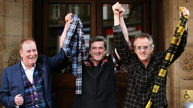 (left to right) Alan Longmuir, Les McKeown and Stuart Wood make the announcement of their reunion in Glasgow