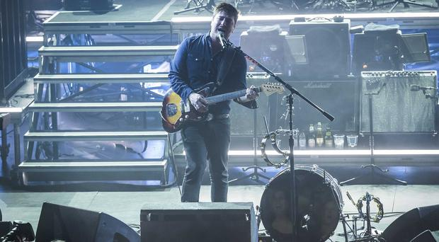 Marcus Mumford of Mumford & Sons performing at the Apple Music festival at the Roundhouse in Camden
