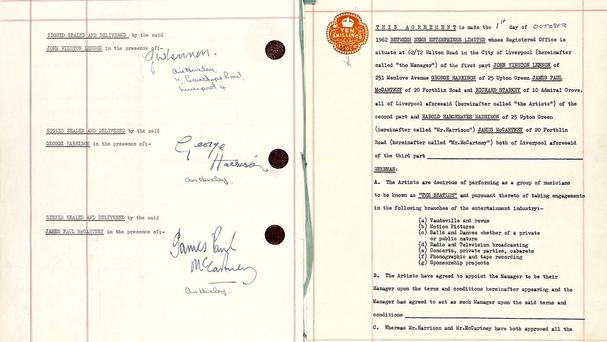 The contract sealed the tie-up between The Beatles and Brian Epstein