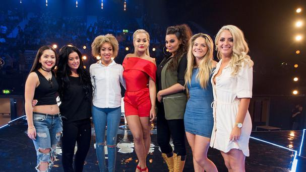 Rita Ora (centre) with her team of girls in The X Factor