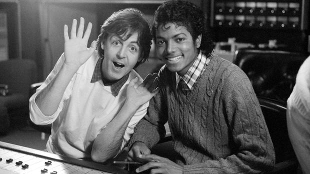 Paul McCartney and Michael Jackson at the AIR London studio mixing desk in 1983 (handout/PA Wire)
