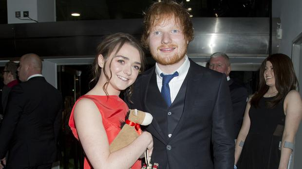 Ed Sheerin and Maisie Williams arriving for the world premiere of Jumpers for Goalposts, at the Odeon Leicester Square in London