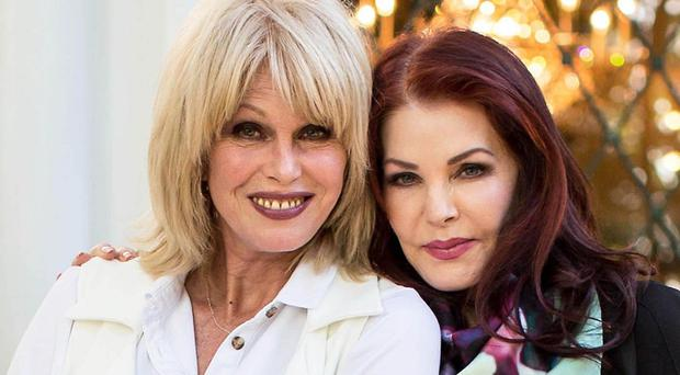Joanna Lumley with Priscilla Presley at Graceland (ITV/PA)