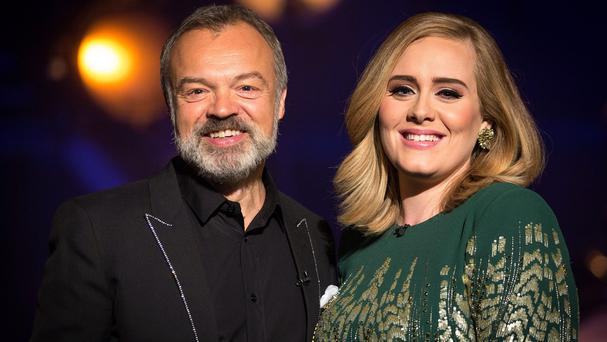 Graham Norton and Adele during the filming of Adele At The BBC (BBC/PA)