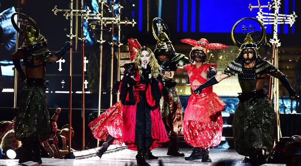 Madonna on stage during her Rebel Heart tour at the O2 Arena