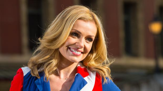 Katherine Jenkins on the steps outside the Royal Albert Hall