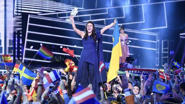 Ukraine's Jamala celebrates with the trophy after winning the Eurovision Song Contest (AP)