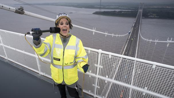 Amy Wadge performs on the top of the Severn Bridge (Steven Haywood/BBC Music Day/PA Wire)