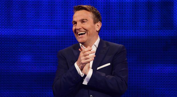 From Shiver Productions THE CHASE CELEBRITY SPECIAL Sunday 25th September 2016 on ITV Pictured: Host Bradley Walsh One Chaser is all that stands between DragonsÕ DenÕs Sarah Willingham, singer Shaun Ryder, entrepreneur Michelle Dewberry and ski-jump legend Eddie ÔThe EagleÕ Edwards and thousands of pounds for their chosen charities. Bradley Walsh hosts. Photographer: Steve Peskett © ITV For further information please contact Peter Gray 0207 157 3046 peter.gray@itv.com This photograph is © ITV and can only be reproduced for editorial purposes directly in connection with the programme THE CHASE CELEBRITY SPECIAL or ITV. Once made available by the ITV Picture Desk, this photograph can be reproduced once only up until the Transmission date and no reproduction fee will be charged. Any subsequent usage may incur a fee. This photograph must not be syndicated to any other publication or website, or permanently archived, without the express written permission of ITV Picture Desk. Full Terms and conditions are available on the website www.itvpictures.com
