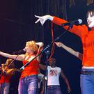 From Left to right: Singers Keren Woodward, Sara Dallin and Siobhan Fahey of Bananarama performing at the 20th anniversary of GAY in London.
