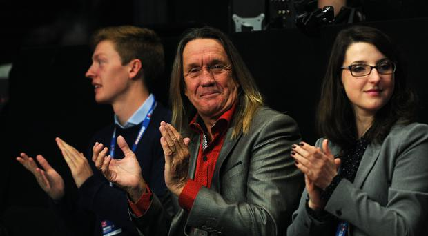 Iron Maiden drummer Nicko McBrain in the audience before the start of the final during day sixteen of the Betfred World Championships at the Crucible Theatre, Sheffield.