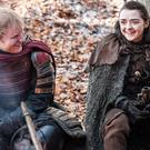 Ed Sheeran and Maisie Williams on the set of Game Of Thrones (HBO/PA)