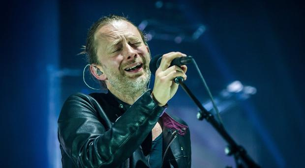 Radiohead singer Thom Yorke on stage