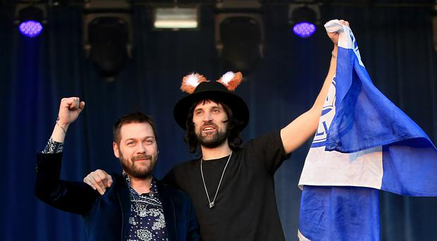 Tom Meighan (left) and Sergio Pizzorno of Kasabian on stage in Victoria Park (Nick Potts/PA)