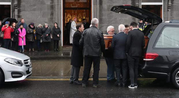 The coffin of Cranberries singer Dolores O'Riordan arrives at St Joseph's Church in Limerick (Niall Carson/PA)