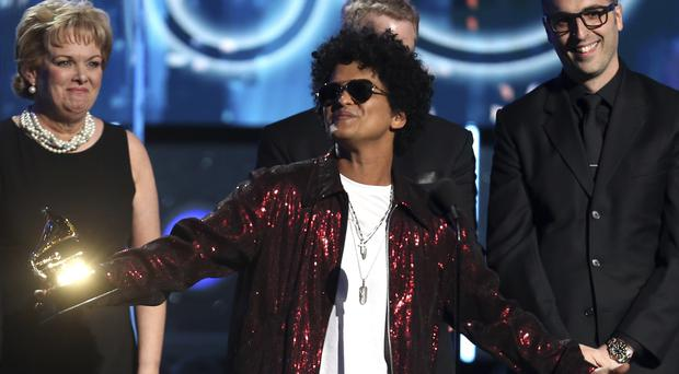 Bruno Mars took all three top honours on the night