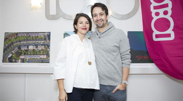 American actor and composer Lin-Manuel Miranda, creator of the hit musical Hamilton, and his wife Vanessa Nadal (Isabel Infantes/PA)