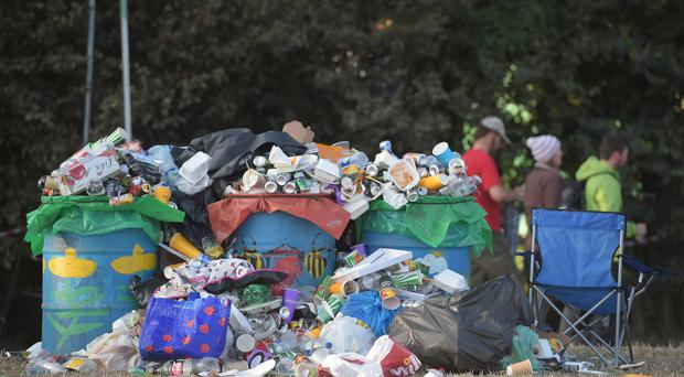 Rubbish at Glastonbury festival (Ben Birchall/PA)