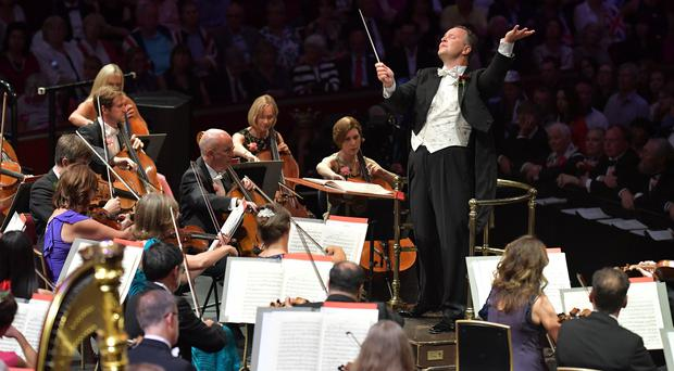 Sakari Oramo conducting the BBC Symphony Orchestra, the BBC Symphony Chorus and the BBC Singers at the Last Night of the Proms (Chris Christodoulou/BBC/PA)