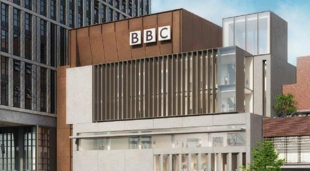 A mock-up of the BBC Stratford Building (BBC)