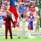 Robbie Williams and Aida Garifullina perform at the opening ceremony of the World Cup (Adam Davy/PA)