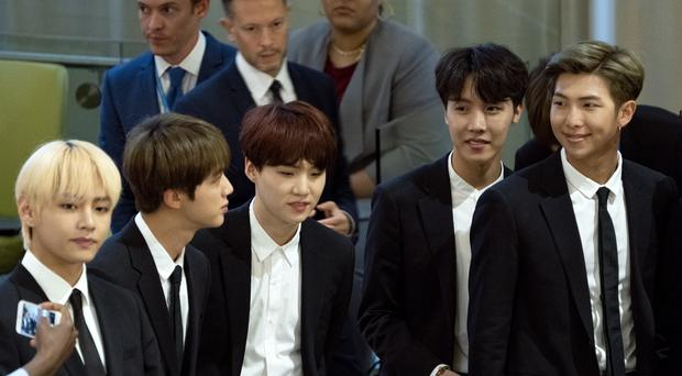K-pop superstars BTS urged fans to 'love themselves' during a historic speech at the United Nations (AP Photo/Craig Ruttle)