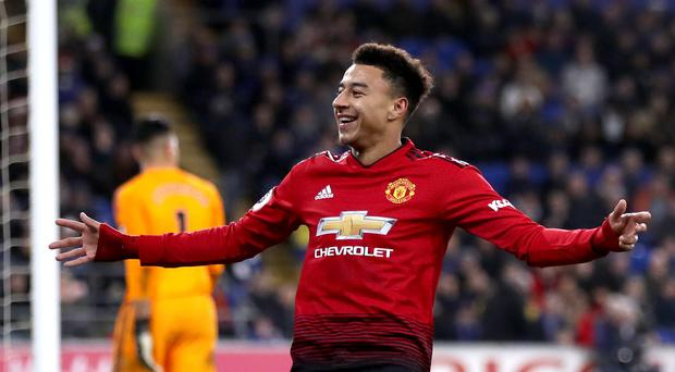 Manchester United's Jesse Lingard pulled the 'gun lean' during celebrations (PA)