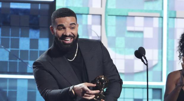 Drake accepts the award for best rap song for God's Plan (Matt Sayles/Invision/AP)