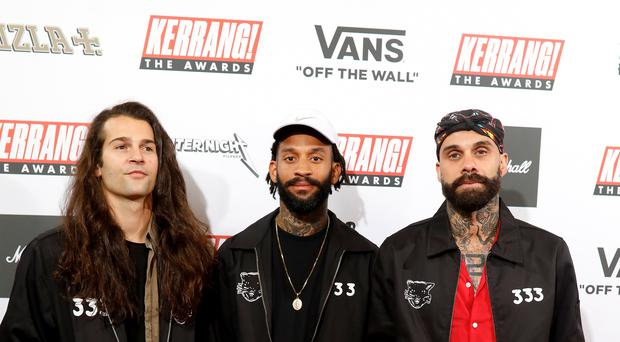 Fever 333's Aric Improta (left to right), Stephen Harrison and Jason Aalon Butler (David Parry/PA)