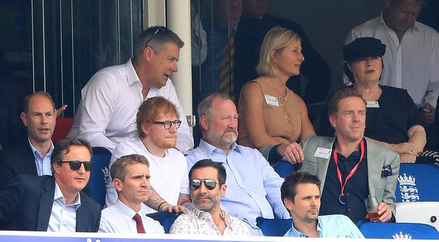 Prince Edward, David Cameron, Ed Sheeran, Matt Bellamy and Damian Lewis in the stands during the Cricket World Cup group stage match at Lord's (Adam Levy/PA)
