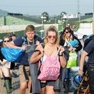 People arriving for the Glastonbury Festival at Worthy Farm in 2017 (Ben Birchall/PA)
