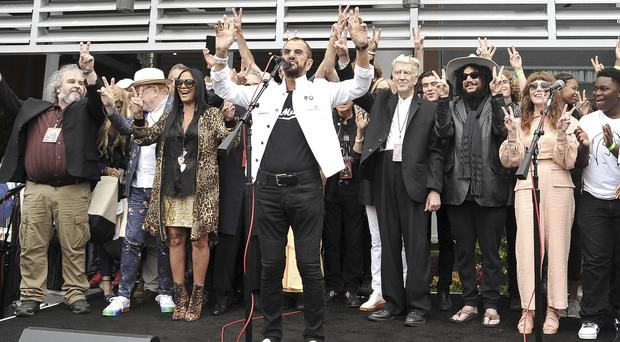 Sir Ringo Starr at his Peace and Love birthday celebration at Capitol Records Tower (Richard Shotwell/Invision/AP)