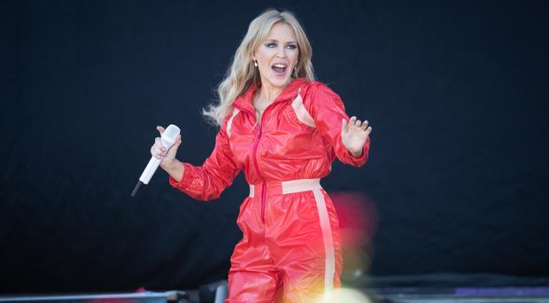 Kylie Minogue performed an impromptu rendition of The Loco-Motion on a train in Scarborough (Aaron Chown/PA)