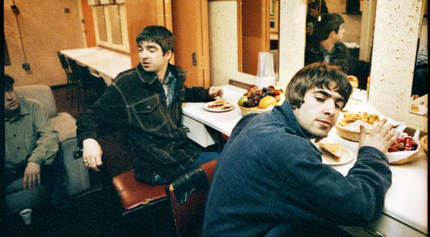 Oasis backstage in Southend in 1995 (Michael Spencer Jones/PA)