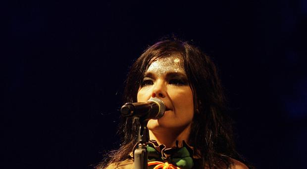 Singer Bjork featured a message from teenage climate change activist Greta Thunberg during a performance in London (Yui Mok/PA)